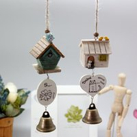 bell housing - Creative Wooden small house wind chimes with printed cartoon wind chimes japanese with metal bell garden wind chimes outdoor