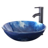 Wholesale Artistic Tempered Glass Bathroom Vessel Sink Counter Top Installation Oil Rubbed Bronze Faucet Pop up Drain Combo Ocean Blue Bowl A03
