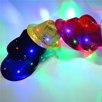 Wholesale Lighted Wholesale Fedora - LED Light Flashing Adult Mens Ladies Sequin Trilby Fedora Hat Jazz Hat Cap Party Hats Gorros de fiesta