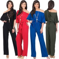 Wholesale New Arrival Women Sexy Jumpsuits Spring Autumn Bodysuit Half Sleeve Boat Neck Casual Style Ladies Long Romper Overalls Plug Size