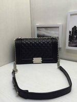 Wholesale Women s Classic Designer Boy Flap Bag Famous Brand Quilted Chain Lambskin Caviar Leather with Flaps Quilted Chain Handbag Cc211