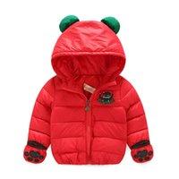 bear down jackets - 2016 new fashionable children s winter down jacket warm comfortable coats cotton vest cute bear wind hand thicker Plus cotton hot models