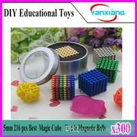Wholesale 300pcs mm neodymium magnetic balls spheres beads magic cube magnets puzzle birthday present for children with metal box YX CQ
