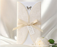Wholesale Creative Custom Made Wedding Invitations With Ribbon Personalized Printable Cards With Covers Vintage Folded Wedding Invitations