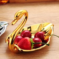 Wholesale fashion creative kitchen trumpet swan zinc alloy metal dish plate fruits and vegetables dish plate