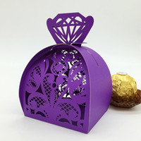 Wholesale Diamon Laser Cut Hollow Carriage Party Favors Boxes Gifts Lacer Cut Pearl Paper Wedding Candy Boxes Favor Holders