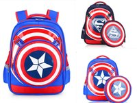 backpack sets - Captain America Backpack Shield bag super heros backpack schoolbag two piece sets colors EMS DHL