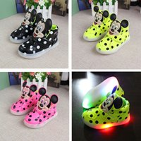 Wholesale 2016 New Fashion LED lighting children casual shoes Cartoon boys girls luminous flashing sneakers Printed Minnie baby kids boots