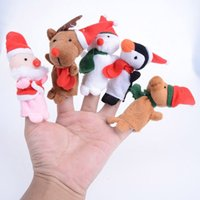 Wholesale 5Pcs set Baby Kids Play Game Learn Story Christmas Santa Claus Snowman Finger Puppet Toy Set Mini Finger Puppets Toys for Kid