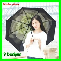 Wholesale Fashion Foldable Women Anti UV Sunshade Umbrellas Multi Functional Girls Lady Folding Ultraviolet proof Umbrella for Sun and Rain