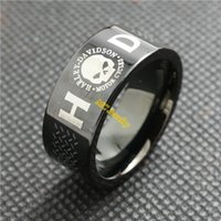 skull ring - 316L stainless steel Cool band black skull ring Biker style ring Motor biker ring