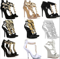 ankle strap platforms - New fashion Roman high heeled sandals sexy platform high heels women gold leaf wedges pumps big size EUR dress shoes