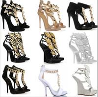 achat en gros de hautes chaussures de coin sexy-Nouvelle mode romaine talons hauts sandales sexy plateforme talons hauts femmes feuille d'or cales pompes grande taille EUR 34-42 chaussures habillées