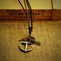 anchor leather necklace - In the latest high end leather necklace with different length can adjust the price of the factory anchor necklace