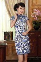 Wholesale chinese cheongsam clothes gown silk qipao dress Painted blue and white porcelain