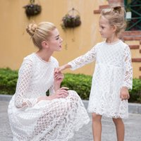 Wholesale Hug Me Girls and Mothers Knitting Dress Family Dress Alikes Lace New Autumn Floral Fashion Long Sleeve Tassels Dress BB