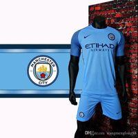Wholesale 16 new Manchester City Jerseys DZEKO KUN AGUERO KOMPANY TOURE YAYA DE BRUYNE Home Away Shirt AAA
