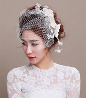 banquet fascinator - 2016 Fashion Wedding Bridal Hat Fascinator Handmade Sweet Linen Lace Flower Birdcage Veil Elegant Banquet Tulle Hair Accessories
