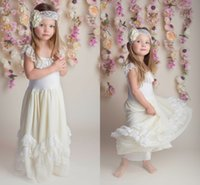Wholesale Lace Vintage Flower Girl Dresses Cheap A line Baby Girl Birthday Party Christmas Communion Dresses Children Girl Party Dresses
