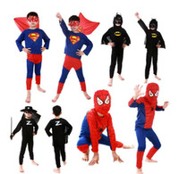 Wholesale Uperhero Cosplay Costumes Children Batman Spiderman Superman Costumes Superman costume Spiderman Superhero Costume Zorro costume Free Ship