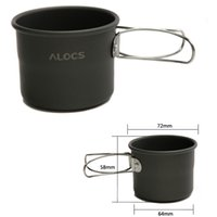 Wholesale 150ml Portable Outdoor Camping Drinkware Super Lightweight Aluminum Oxide Cup With Foldable Handles ALOCS