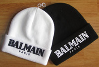 acrylic christmas hats - Fashion hight quality BALMAIN paris beanies autumn winter knitted warm men beanies causal streetwear gorro ski hat black white