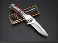 Wholesale New Browning DA43 Folding Hunting Knife Cr15Mov wooden Handle Steel Tactical Pocket Knife Outdoor Camping Knife Survival Tool