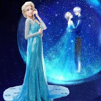 Wholesale Elsa adult princess cosplay dress queen long sleeved princess dress sequined dress freeze goddess Queen Elsa dress costume dress