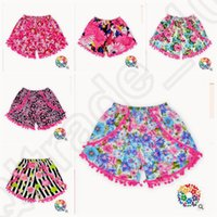 Wholesale 6 design Baby Girls Lovely tassel Short Pants girls flower printed shorts kids Shorts Elastic Tassel Short Pants LJJK86