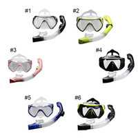 Wholesale 2016 New Professional Scuba Diving Mask Snorkel Anti Fog Goggles Glasses Set Silicone Swimming Fishing Pool Equipment Color