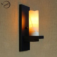 bathroom vanity black - vintage retro black metal glass lampshade wall lamp for Bathroom Vanity Lights porch night light fixture sconce bar