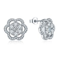 Wholesale Traditional Style Flower Shape Sterling Silver Stud Earrings Prong A Stone For Anniversary Or Graduation DE92120A