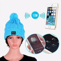 Wholesale Top Hot Men Women Soft Winter Beanie Hats Wireless Bluetooth Smart Cap Headphone Headset Speaker Mic Headgear Knitted Cap More Colour