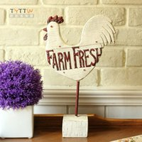 american chickens - American style wood grain resin chicken decoration lucky chicken home accessories lucky