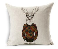 Wholesale YouYee Square Decorative Cotton Linen Throw Pillow Case Cushion Cover Cartoon Deer