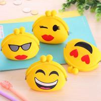 achat en gros de sacs de gelée jaune-Jaune Jolie Cartoon Emoji Silicone Jelly Porte-monnaie Porte-Monnaie Sac Portefeuille 10cm * 3cm * 7cm