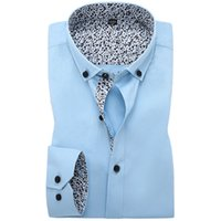 Wholesale New Autumn Mens Dress Shirts Cotton Regular Fit Long Sleeve Floral Patchwork Men Casual Business Formal Shirt
