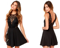 Wholesale Summer Women Sexy Vestido De Festa Black Vintage elegant Party short Dresses Robe Femme sexy club Lace Dress
