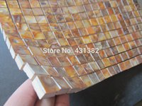 Wholesale Subway brick tiles mother of pearl tile new arrvial kitchen backsplash bathroom wall dyed gold mosaic shell tiles