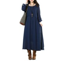 Wholesale 2016 Autumn New Arrival Plus Size Women Fashion Three Quarter Sleeve O neck Cotton And Linen Maxi Dress Casual Dress Vestidos