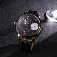 batteries discs - 2016 New Luxury GMT Two Place Eagle Belt Watches Double Display Double Disc Mens Business Quartz Watch Luxury Watches Mens Watches