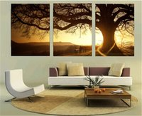 Wholesale 3 Panel Modern Printed Tree Painting Picture Cuadros Sunset Canvas Painting Wall Art Home Decor For Living Room Frameless