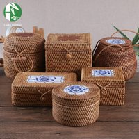 bamboo and rattan - Rattan storage box with lid square and round hand woven jewelry box organizer wooden bins for sundries puer tea vintage gift box