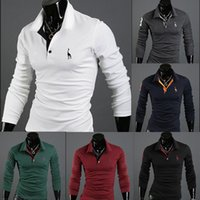 Wholesale New cheap fashion slim fit long sleeve casual men fitness blusas camisa polo t shirts ropa hombre deportiva
