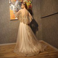 banquet service - 2016 new bride A line Tulle Lace up Long Evening Dresses banquet service golden long size thin dress skirt