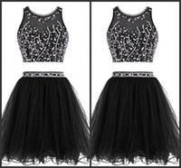 Wholesale Black Prom Short Party Dress Sequins Two Pieces Dress Pipings Mini Dress Jewel Neck Sleeveless Custom Made Formal Dresses