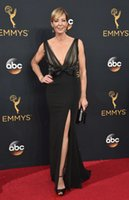 allison model - Sexy Side Split Deep V Neck Black Emmy Awards Celebrity Dresses Allison Janney Mermaid Beaded Formal Prom Evening Gowns