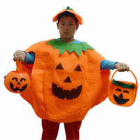 Wholesale 2016 New Adult Children Mascot costume Halloween Pumpkin Costume Hat Suit Theme Uniform Overalls Cap Party Clothing Props mc0354