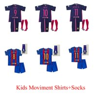 Wholesale 2016 Kids shorts socks Best Quality Customized Home Away Jersey Camiseta de Neymar JR Suarez A Iniesta