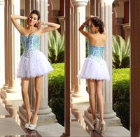 art photo black and white - 2016 Newest Ball Gown Short Mini Organza Homecoming Dresses Strapless Sexy Sweetheart Beads Blue and White Tulle Party Cocktail Prom Dresses